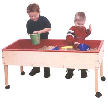 Sand And Water Table Has A 6in Deep Plastic Liner And Is Constructed Of  Solid Maple And Birch Veneer Panels. Four Locking Casters Included.